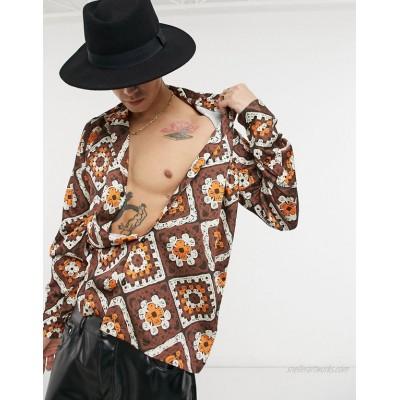 DESIGN regular deep camp collar satin shirt in crochet print