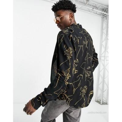 DESIGN regular shirt in black and gold body sketch print