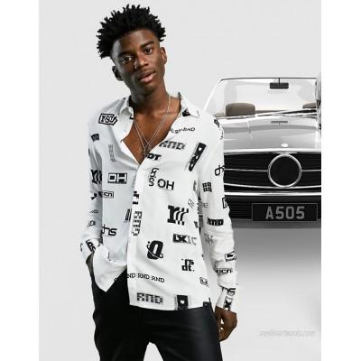 DESIGN regular shirt in text all over monochrome print