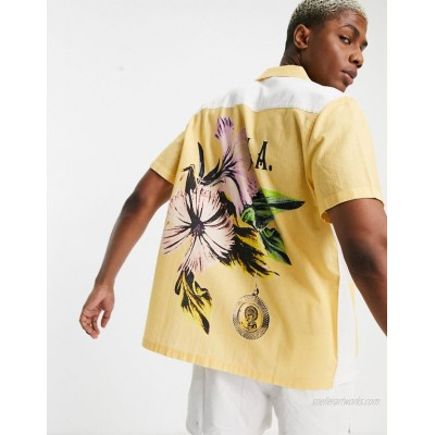 DESIGN relaxed revere shirt with patchwork back placement floral