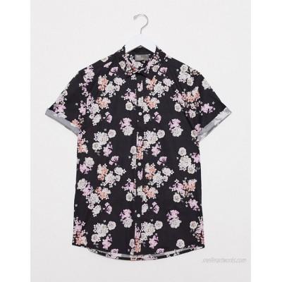 DESIGN stretch slim fit poplin floral shirt in navy