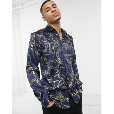River Island long sleeve shirt with chain print in black