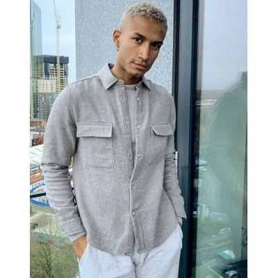 DEISGN herringbone wool blend overshirt in gray