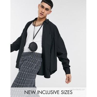 DESIGN extreme oversized dad shirt in black