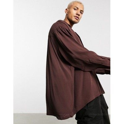 DESIGN extreme oversized viscose crepe shirt in brown