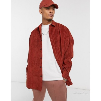 DESIGN irregular cord extreme oversized fit shirt in rust