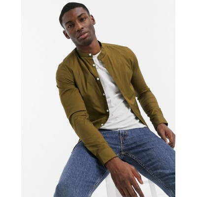 DESIGN skinny fit shirt with grandad collar in military olive