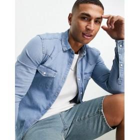 DESIGN skinny fit western denim shirt in light wash blue
