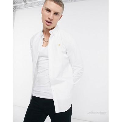 Farah Brewer slim fit organic cotton oxford shirt in white