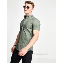 New Look short sleeve muscle fit oxford in khaki