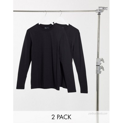 DESIGN 2 pack muscle fit long sleeve t-shirt with crew neck
