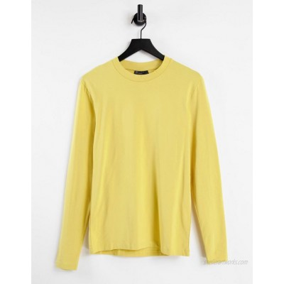 DESIGN long sleeve muscle fit t-shirt in yellow