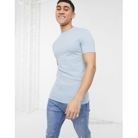 DESIGN muscle fit t-shirt in pique in blue