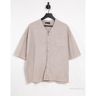 DESIGN oversized baseball t-shirt in heavyweight beige acid wash