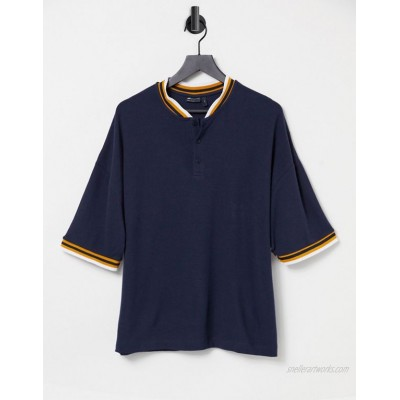 DESIGN oversized t-shirt in navy waffle with bomber neck