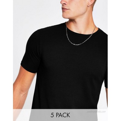 River Island muscle fit t-shirt in black 5 pack