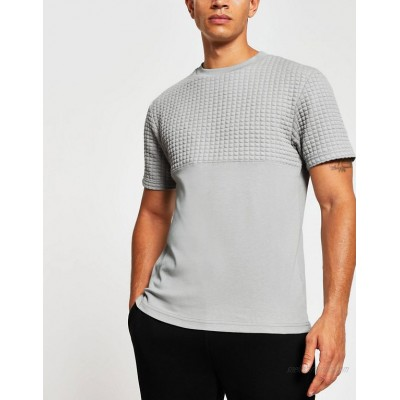 River Island quilted t-shirt in gray