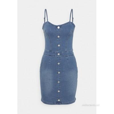 Missguided Tall BUTTON DETAIL STRETCH MINI DRESS Denim dress light blue